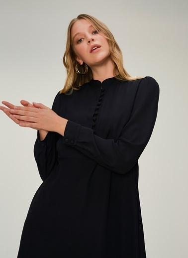 NGSTYLE Hakim Yakalı Brit Detaylı Elbise Siyah